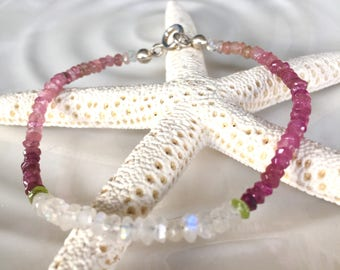 Dainty Pink Tourmaline, Moonstone, and Peridot Beaded Stacking Bracelet