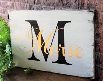 Personalized  Wood Sign - Custom Wedding Gift - Last Name Established Wooden Sign - Rustic Wedding Decor - Handmade Wood Sign