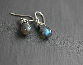 Wire wrapped Labradorite Earrings, Labradorite Jewelry, Healing Stone Jewelry, Crystal Earrings, Dangle drop Earrings, Gift for her