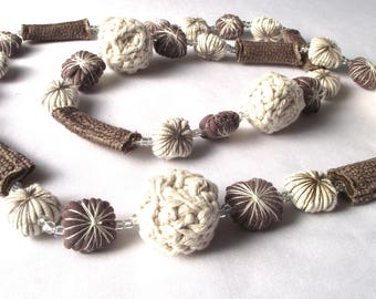 Long necklace, textile necklace, fibre jewelry, stone natural colours, fashion accessorie, unique handmade necklace, crochet beads