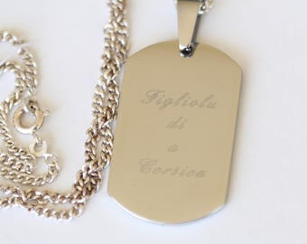 """Medal Corsica """"FIGLIOLU DI to CORSICA"""" etched stainless steel, registered"""
