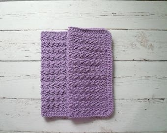 "10"" x 10"" Large Crochet Dishcloths - Lilac Cotton Dishcloth Set - Set of 2 Dishcloths"