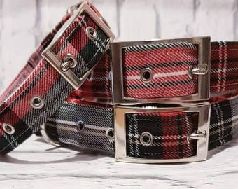 1 x  Handmade red/green Tartan dog collar with silver metal buckle