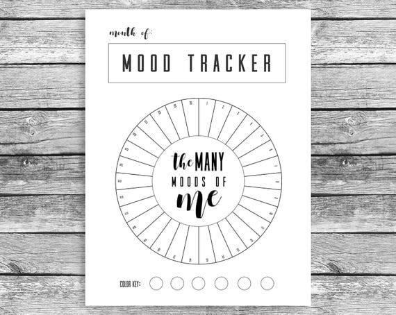 Mood Calendar Bullet Journal : Monthly mood tracker circle happy planner mini chart