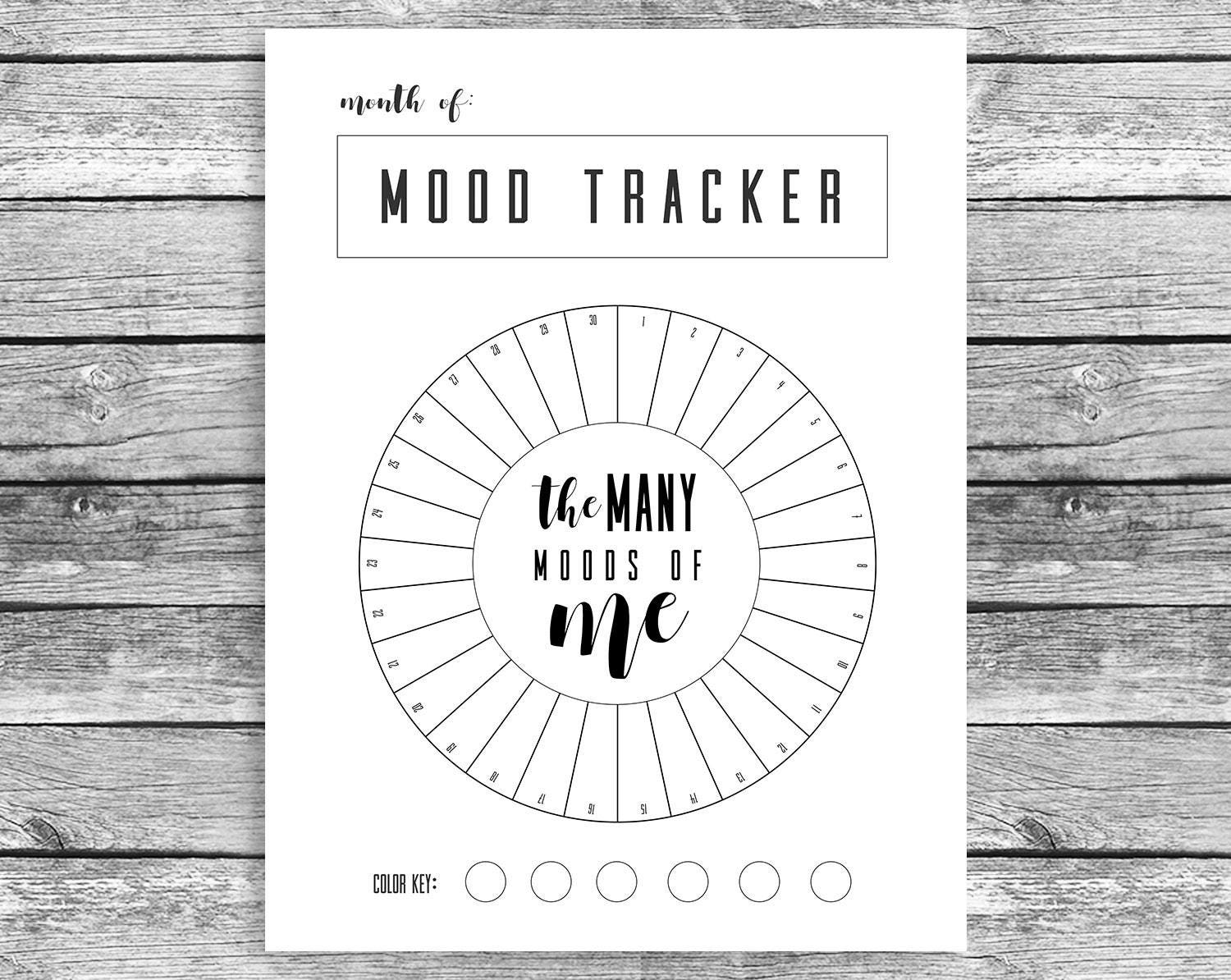 Clean image regarding printable mood tracker