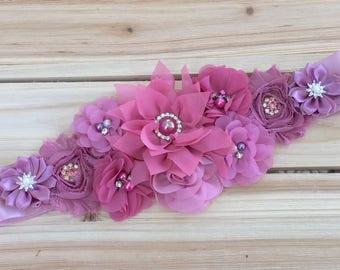 Vintage Dusty Rose Shabby Chic Flower Bridal Sash, Mauve Baby, Bump, Belly, Band, Belt, Maternity/Pregnancy Sash, Flower Girl Sash, Prop
