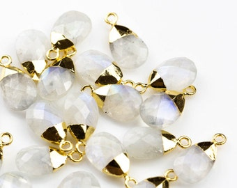 Small Cute Moonstone Drops Briolette Charm / Pendant ~9*13mm. Gold plated bail.