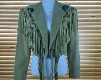 Vintage Scully Leather Fringe Jacket // Western Leather Jacket // Tan Jacket