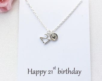 VACATION SALE 21st birthday gift, 21st birthday, 21st gift, message card necklace,21st gift, gift for 21st , BMCNTF2101