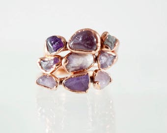 Amethyst Copper Stacking Ring / Triple Amethyst Stone Ring / February Birthstone / Birthstone Ring / Gifts for Bridesmaids / Gifts for mom