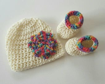 Flowe Beanie + Bootie Set - 0-3 months - Cream/Rainbow Pure Wool