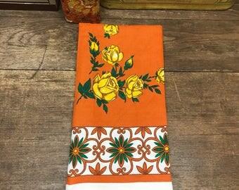 Vintage Tablecloth Linen Scarf/Sash Burnt Orange Yellow Rose Beautiful!!!