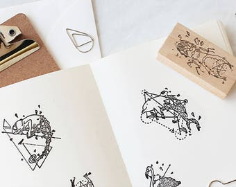 Geometry Stamp, Animals Stamps, Geometry Animal Stamp, Vintage Wooden Rubber Stamps, Diary Stamp Set