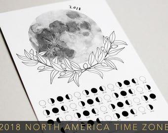 Moon Phases Calendar 2018-Lunar Calendar-Printable Calendar-Moon Print-Moon Poster-2018 Planner-Moon-Bohemian Calendar-Lunar Phases-Moon Art