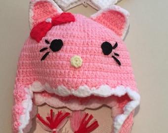 Pink Crocheted Hat & Glove Sets