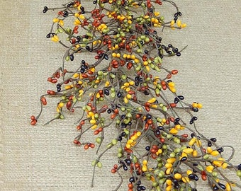 Fall Harvest Pip Berry Garland, Fall Garland, Autumn Decor, Primitive Berries, Wreath Making