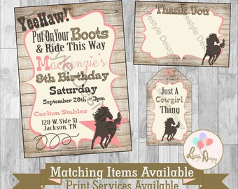 Cowgirl Birthday Invitation - Cowgirl Invitation - Cowgirl Party - Western BIrthday Party - Horse - Gold - Country Chic BIrthday