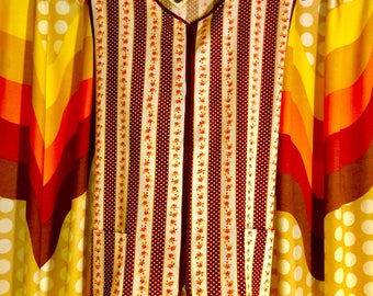 GROOVY Vintage 970s Never Used with Tags!! ARTISTS Zippered Smock! Size Medium
