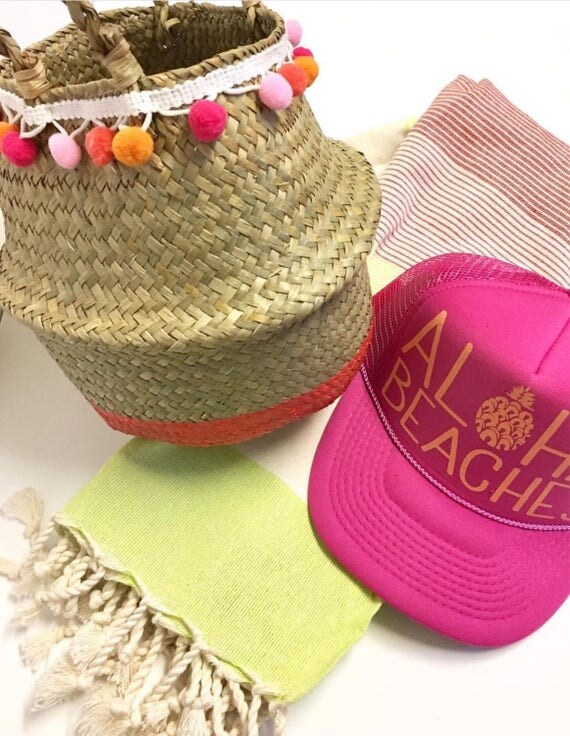 Mini Straw Bag |Pom pom bag | Aloha bag | Hawaii Bag| Straw bag | Beach bag | pink bag |