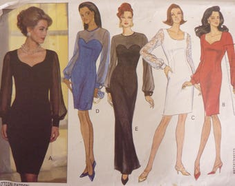 Ladies Semi Fitted Dress Butterick 6402 Sewing Pattern 90s Fashion Size 6 - 12