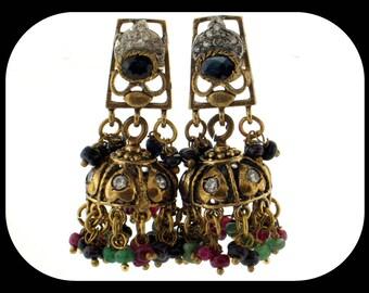 Authentic TURKMEN Emerald Ruby Sapphire & CZ 925 Sterling Silver Brass Pierced Dangle EARRINGS