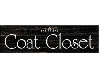 Coat Closet Sign Black