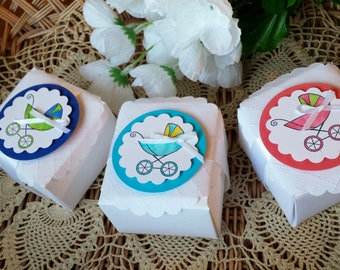 Baby carriage box, Baby carriage shower/baby carriage party favor box, peachy pink, royal blue or aqua