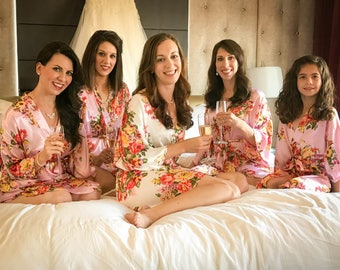 10 DIFFERENT COLORS - Bridesmaid Robes Floral Robe Wedding Robes Bridal Party Robes Bridesmaid Robe Bride Robe Floral Bridesmaid Robes Satin