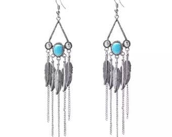 Turquoise chain and feather drop earrings