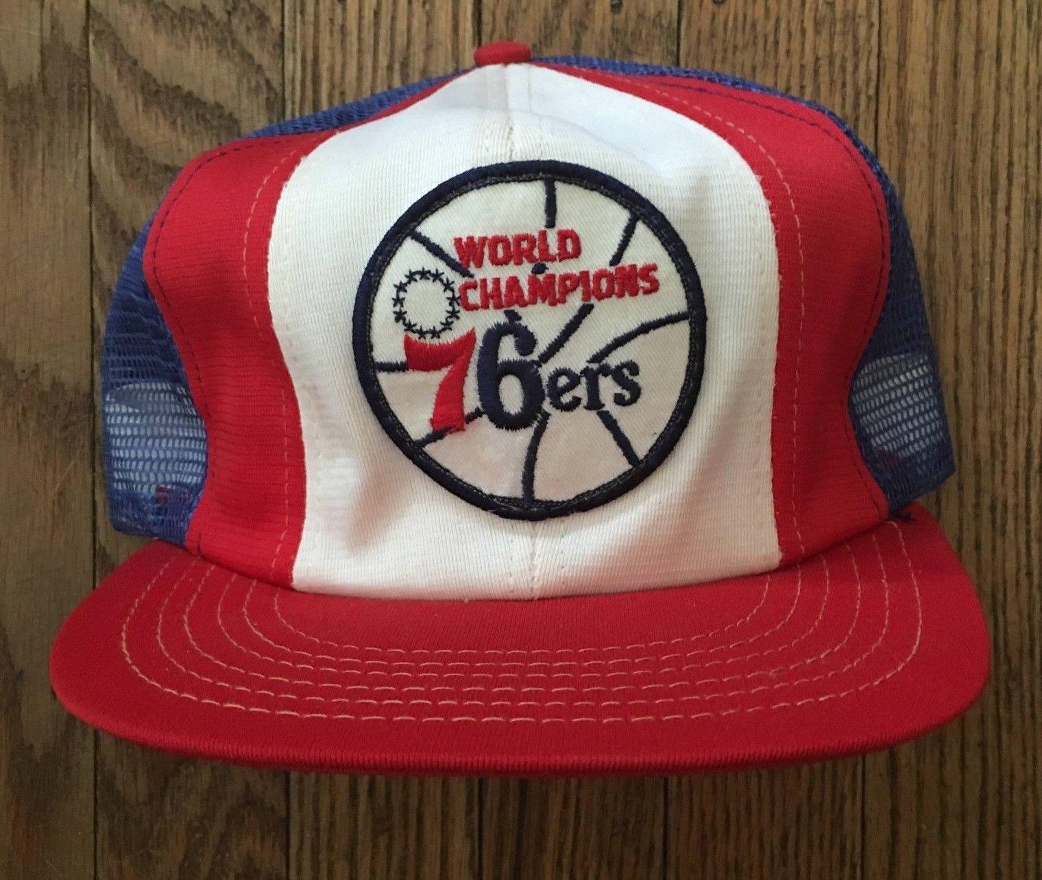 Vintage 1983 Champions Philadelphia 76ers NBA Mesh Trucker Hat Snapback Hat  Baseball Cap Patch   Made 1ba4c4a463c