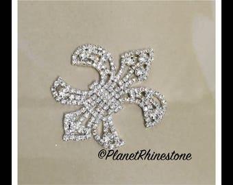 Silver Small Fleur De Lis Rhinestone applique #164