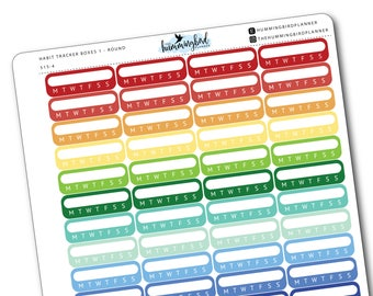 Habit Tracker Boxes 1 - Round   515   Planner Stickers for MAMBI and Erin Condren Planners - Physical Item