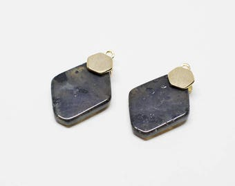P0662/Anti-Tarnished Gold Plating Over Brass+Labradorite/Rhombus Labradorite Gemstone Pendant/11x17mm/2pcs