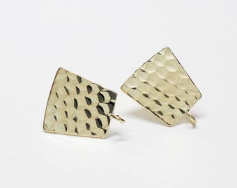 E0198/Anti-Tarnished Gold Plating Over Brass/Large Textured Trapezoid Stud Earrings/15x18mm/ 2pcs