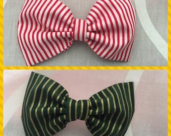 Fabric hair bow, holiday hair bow, Christmas hair bow, hair bow. Candy cane hair bow . White and red hair bow. Green and gold hair bow