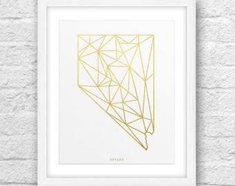 Nevada Map, Nevada Print, Nevada Art, Nevada State, Nevada Design, Gold Art, Nevada Printable,Instant Download, Nevada Modern Art, Golden