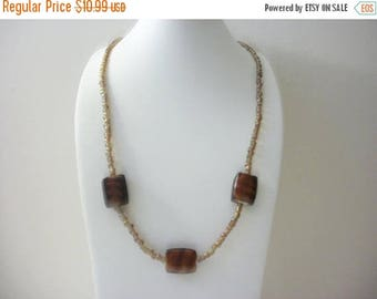 ON SALE Vintage Seed Beads Foil Lamp Work Glass Necklace 31217