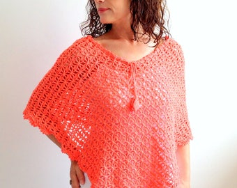 Summer poncho, coral poncho, cotton capelet, orange cover up, cotton poncho, cotton cape, gift for her, fast shipping, READY TO SHİP