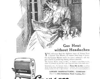 Original Vintage 1920s Advert - Lawson Odourless Gas Heater