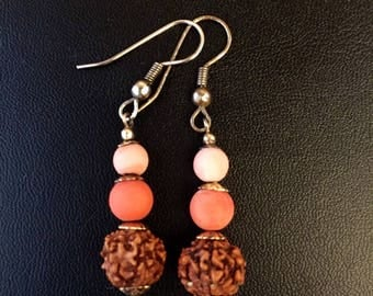 Red and Pink Coral with Indian Ruthraksha Earrings