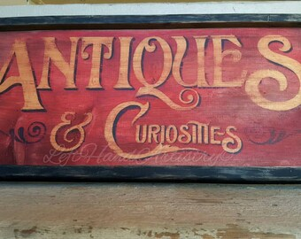 FREE-HANDED Wood Antiques & Curiosities sign! Vintage. Antique. Primitive. Trade signs. Old fashioned. Victorian. Shop. Red. Gold leaf.