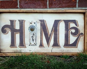 Reclaimed Wood Home Sign! Free-handed! Antique Glass Knob and Door Plate. Vintage sign. Rustic. Farmhouse. White. Brown.