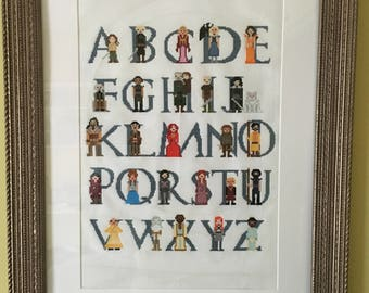 FINISHED Game of Thrones Alphabet Cross Stitch Ready to Ship!