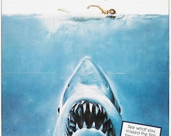Back to School Sale: JAWS Movie Poster SPEILBERG Great White