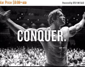 ON SALE NOW: Arnold Schwarzenegger Conquer - Body Building Wall Poster Print