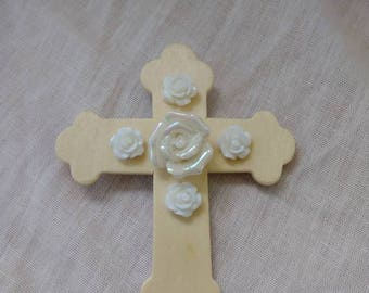 Ceramic rose wooden cross pin