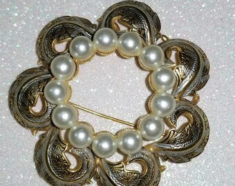 Vintage Damascene gold and Silver tone with white Beads in Center pin brooch