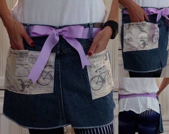 SALE Denim half apron Paris bike print pockets purple ribbon waist ties white fluer de lis embroidered pocket dark blue repurposed denim