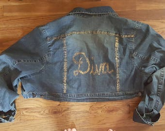 Glittery Hand Painted Woman's Cato Denim Shrug DIVA OOAK Size 26/28W