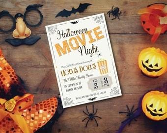 Halloween Movie Night DIY Printable Halloween Party Invitation